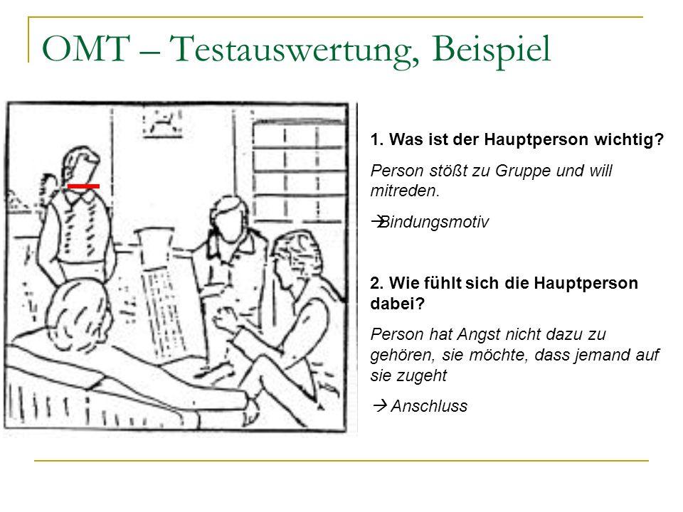OMT – Testauswertung, Beispiel 1. Was ist der Hauptperson wichtig? Person stößt zu Gruppe und will mitreden. Bindungsmotiv 2. Wie fühlt sich die Haupt