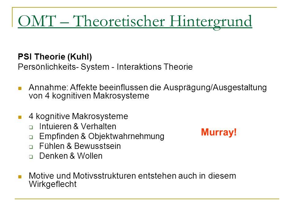 OMT – Theoretischer Hintergrund PSI Theorie (Kuhl) Persönlichkeits- System - Interaktions Theorie Annahme: Affekte beeinflussen die Ausprägung/Ausgest