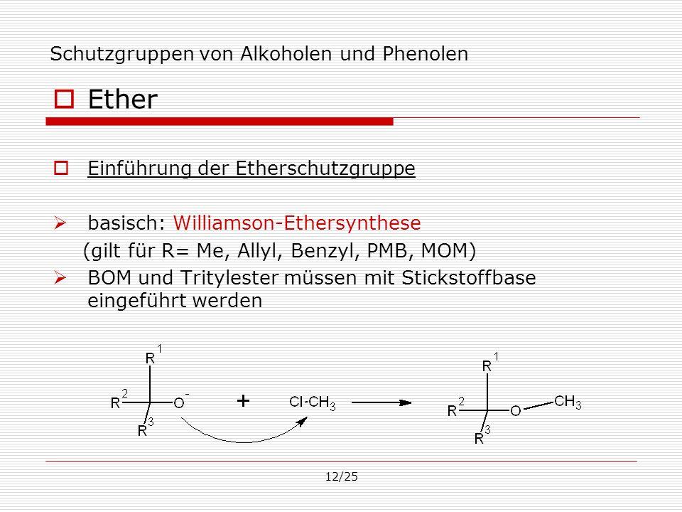 12/25 Schutzgruppen von Alkoholen und Phenolen Ether Einführung der Etherschutzgruppe basisch: Williamson-Ethersynthese (gilt für R= Me, Allyl, Benzyl