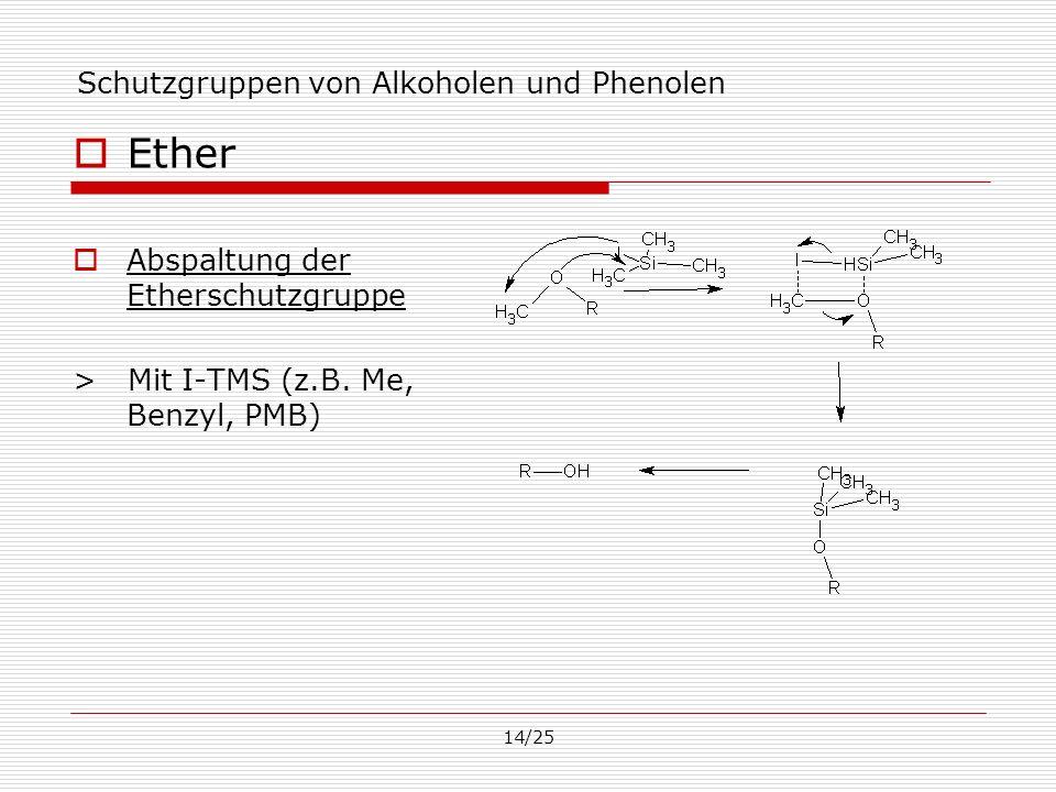14/25 Schutzgruppen von Alkoholen und Phenolen Ether Abspaltung der Etherschutzgruppe > Mit I-TMS (z.B. Me, Benzyl, PMB)