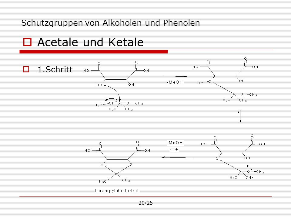 20/25 Schutzgruppen von Alkoholen und Phenolen Acetale und Ketale 1.Schritt