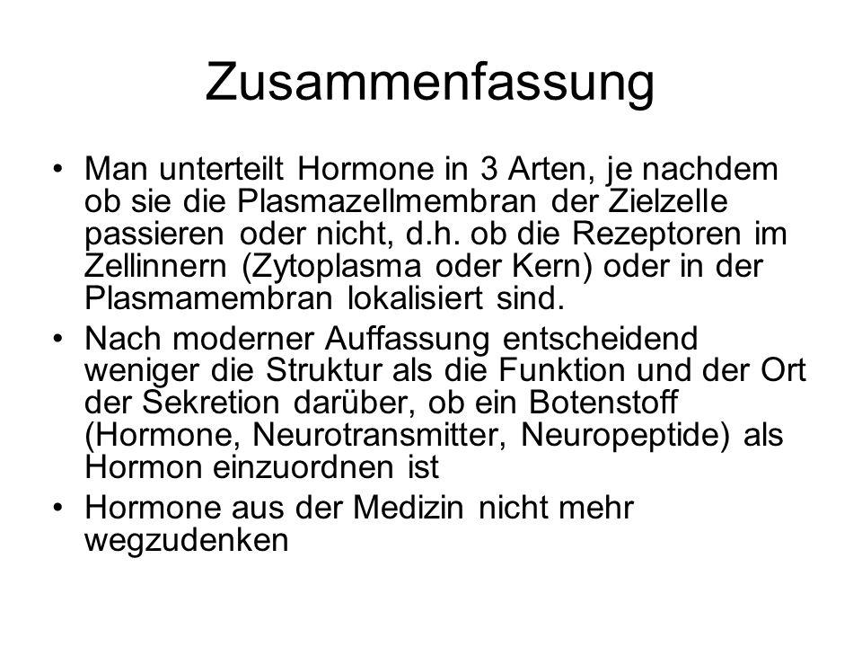 Zusammenfassung Man unterteilt Hormone in 3 Arten, je nachdem ob sie die Plasmazellmembran der Zielzelle passieren oder nicht, d.h.