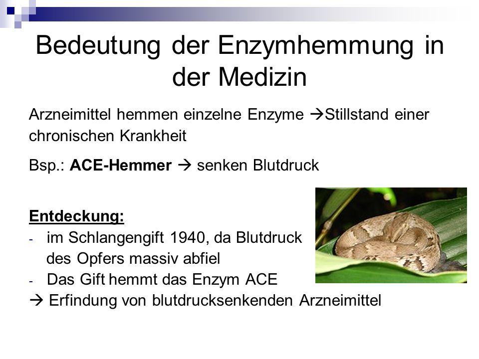 Bedeutung der Enzymhemmung in der Medizin Arzneimittel hemmen einzelne Enzyme Stillstand einer chronischen Krankheit Bsp.: ACE-Hemmer senken Blutdruck