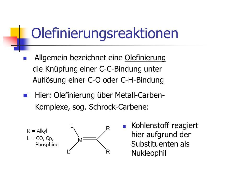 Olefinierungsreaktionen Allgemein bezeichnet eine Olefinierung die Knüpfung einer C-C-Bindung unter Auflösung einer C-O oder C-H-Bindung Hier: Olefini