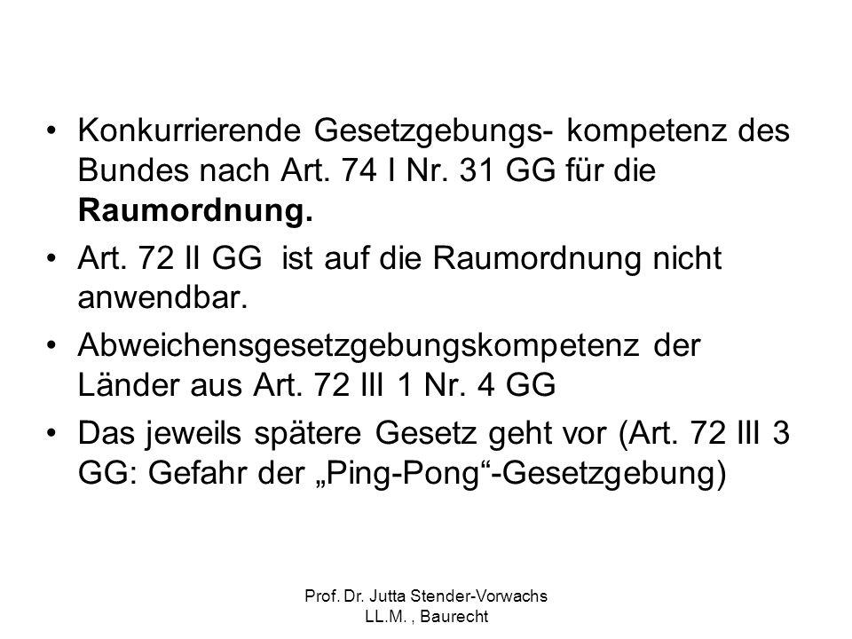 Prof. Dr. Jutta Stender-Vorwachs LL.M., Baurecht Konkurrierende Gesetzgebungs- kompetenz des Bundes nach Art. 74 I Nr. 31 GG für die Raumordnung. Art.
