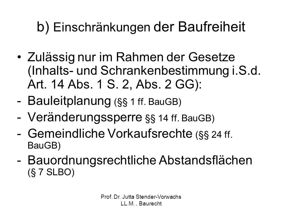 Prof. Dr. Jutta Stender-Vorwachs LL.M., Baurecht b) Einschränkungen der Baufreiheit Zulässig nur im Rahmen der Gesetze (Inhalts- und Schrankenbestimmu