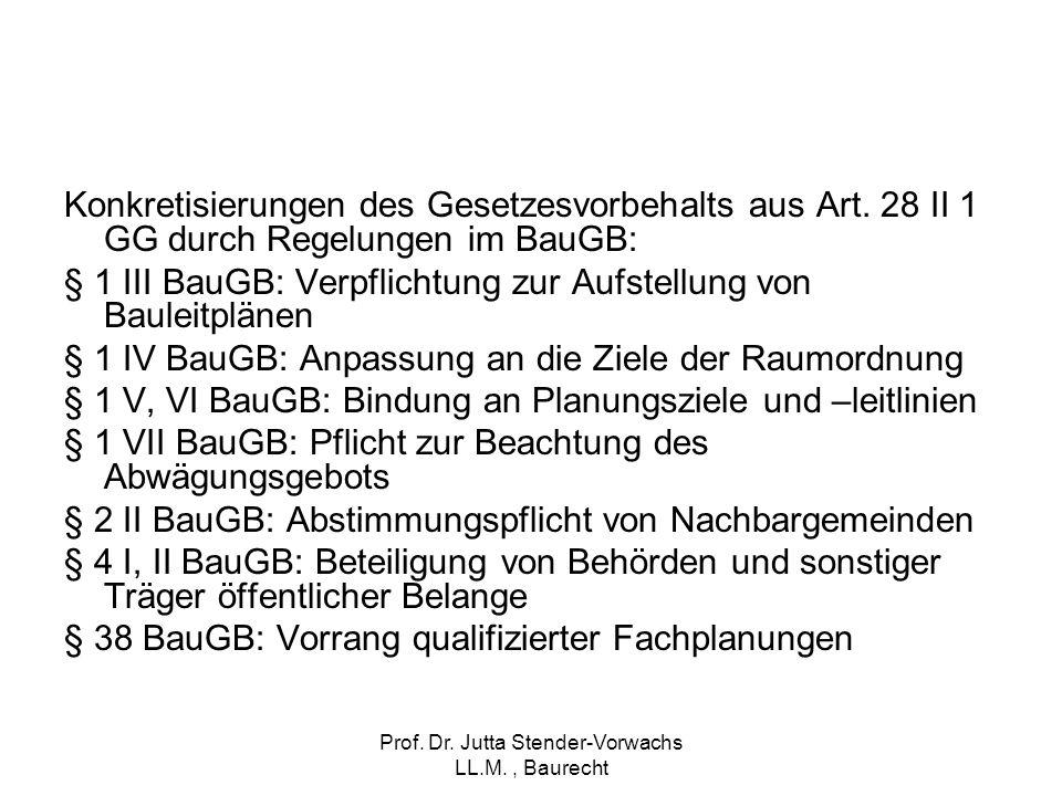 Prof. Dr. Jutta Stender-Vorwachs LL.M., Baurecht Konkretisierungen des Gesetzesvorbehalts aus Art. 28 II 1 GG durch Regelungen im BauGB: § 1 III BauGB