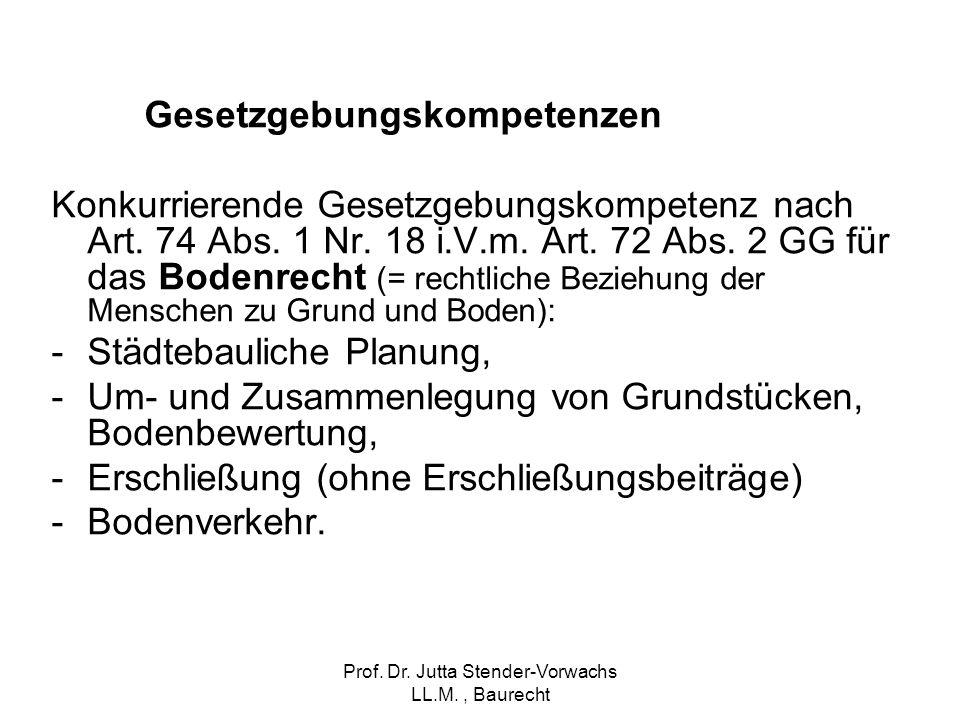 Prof. Dr. Jutta Stender-Vorwachs LL.M., Baurecht Gesetzgebungskompetenzen Konkurrierende Gesetzgebungskompetenz nach Art. 74 Abs. 1 Nr. 18 i.V.m. Art.
