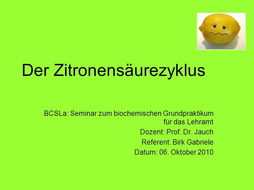 Der Zitronensäurezyklus BCSLa: Seminar zum biochemischen Grundpraktikum für das Lehramt Dozent: Prof. Dr. Jauch Referent: Birk Gabriele Datum: 06. Okt