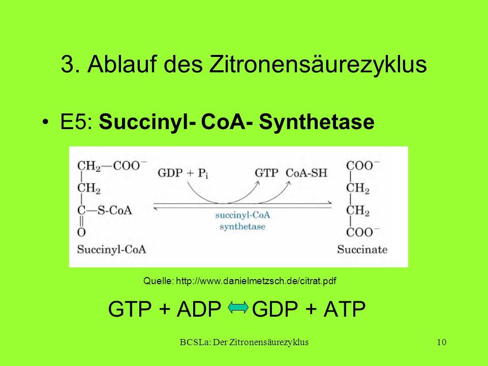 BCSLa: Der Zitronensäurezyklus10 3. Ablauf des Zitronensäurezyklus E5: Succinyl- CoA- Synthetase GTP + ADP GDP + ATP Quelle: http://www.danielmetzsch.