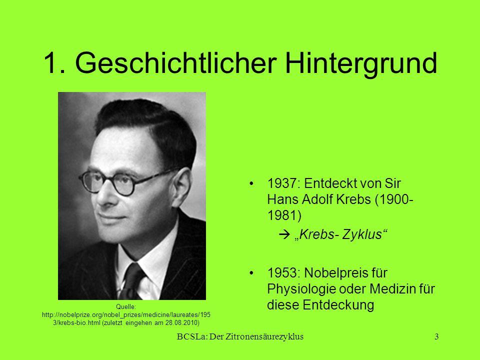 BCSLa: Der Zitronensäurezyklus3 1. Geschichtlicher Hintergrund 1937: Entdeckt von Sir Hans Adolf Krebs (1900- 1981) Krebs- Zyklus 1953: Nobelpreis für