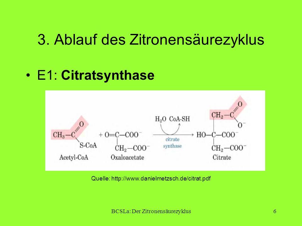 BCSLa: Der Zitronensäurezyklus17 4.Literatur Sekundärliteratur: Bruice: Organische Chemie, 5.