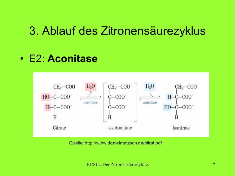 BCSLa: Der Zitronensäurezyklus7 3. Ablauf des Zitronensäurezyklus E2: Aconitase Quelle: http://www.danielmetzsch.de/citrat.pdf