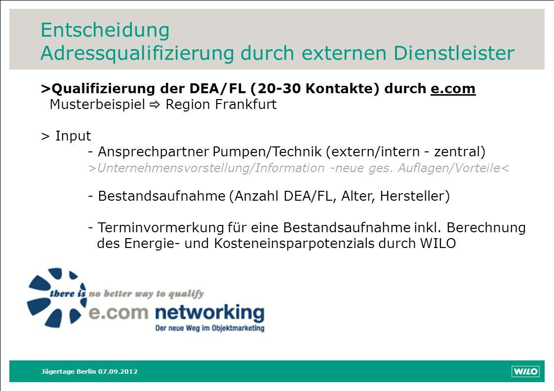 Entscheidung Adressqualifizierung durch externen Dienstleister Jägertage Berlin 07.09.2012 >Qualifizierung der DEA/FL (20-30 Kontakte) durch e.com Mus