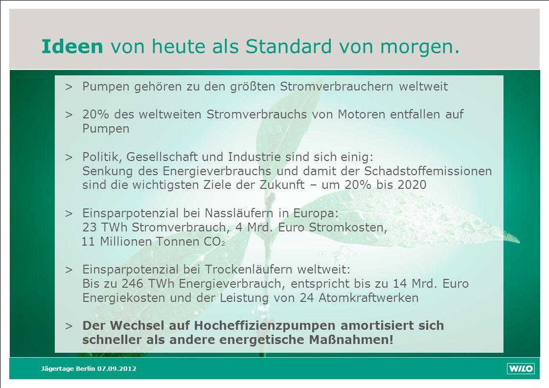 Ideen von heute als Standard von morgen. Jägertage Berlin 07.09.2012 >Pumpen gehören zu den größten Stromverbrauchern weltweit >20% des weltweiten Str