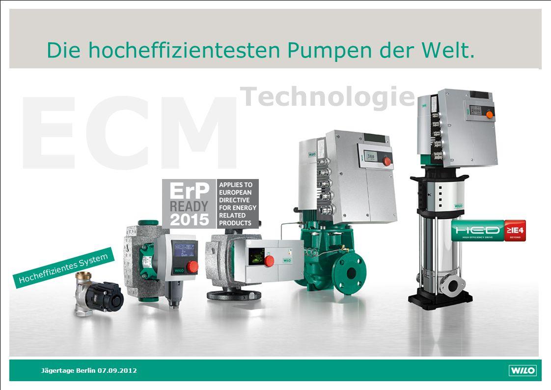 ECM Technologie Die hocheffizientesten Pumpen der Welt. Hocheffizientes System Jägertage Berlin 07.09.2012