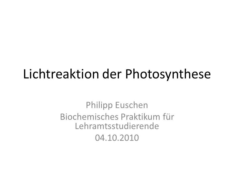 Lichtreaktion der Photosynthese Philipp Euschen Biochemisches Praktikum für Lehramtsstudierende 04.10.2010