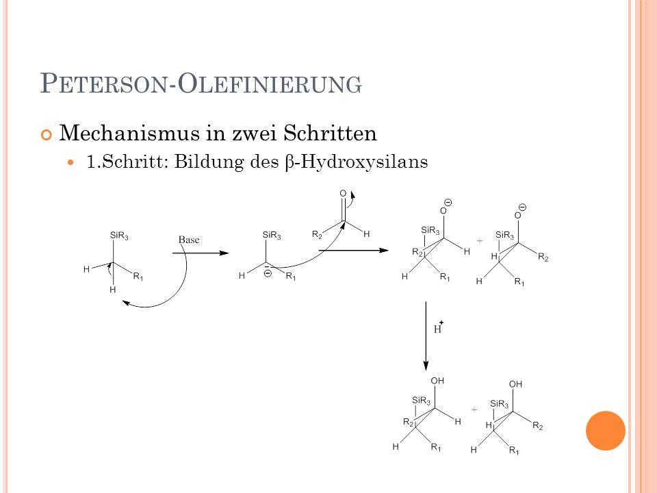 P ETERSON -O LEFINIERUNG Mechanismus in zwei Schritten 1.Schritt: Bildung des β- Hydroxysilans