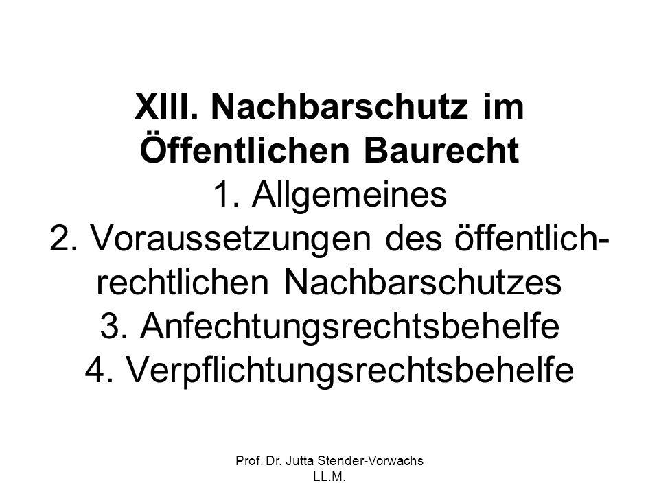 Prof. Dr. Jutta Stender-Vorwachs LL.M. XIII. Nachbarschutz im Öffentlichen Baurecht 1. Allgemeines 2. Voraussetzungen des öffentlich- rechtlichen Nach