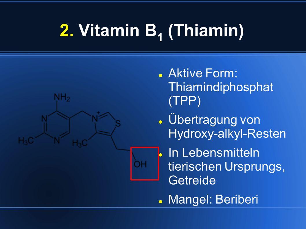 2. Vitamin B 1 (Thiamin) Aktive Form: Thiamindiphosphat (TPP) Übertragung von Hydroxy-alkyl-Resten In Lebensmitteln tierischen Ursprungs, Getreide Man