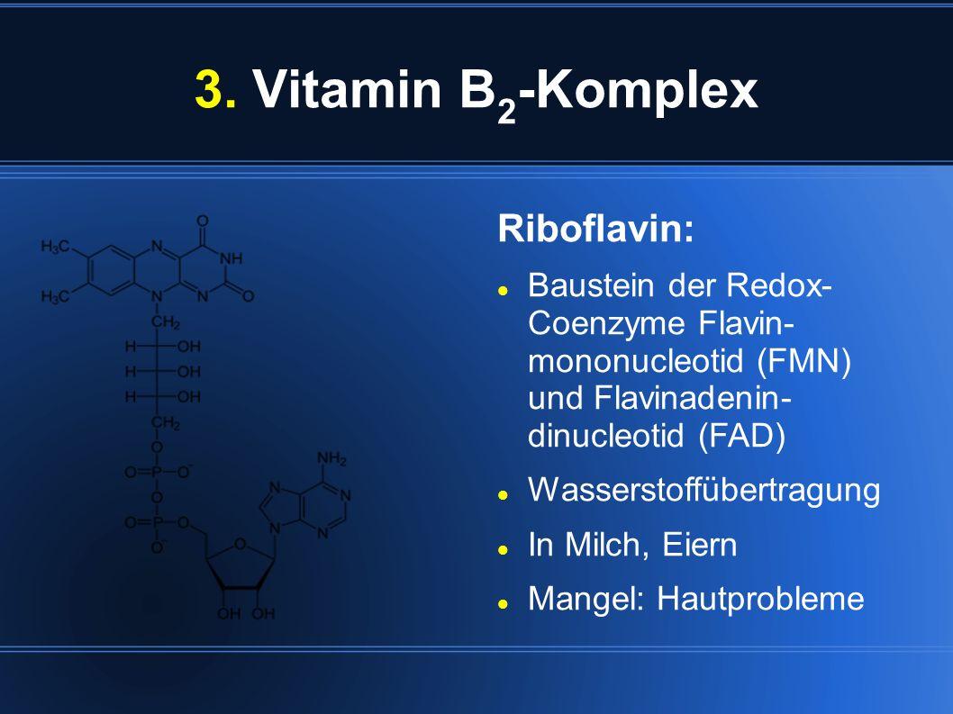 3. Vitamin B 2 -Komplex Riboflavin: Baustein der Redox- Coenzyme Flavin- mononucleotid (FMN) und Flavinadenin- dinucleotid (FAD) Wasserstoffübertragun