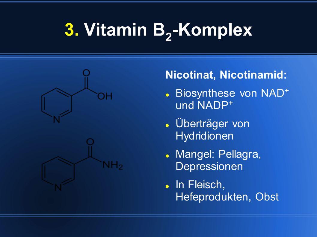3. Vitamin B 2 -Komplex Nicotinat, Nicotinamid: Biosynthese von NAD + und NADP + Überträger von Hydridionen Mangel: Pellagra, Depressionen In Fleisch,