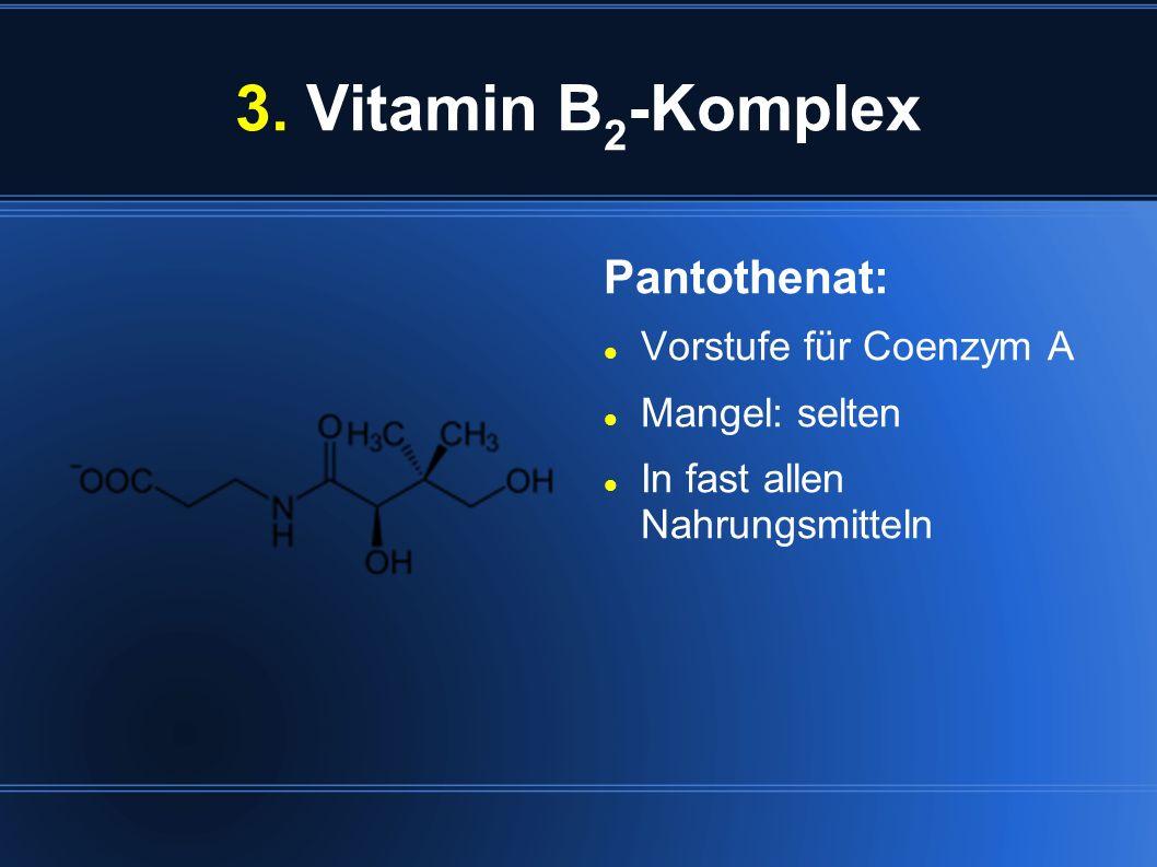 3. Vitamin B 2 -Komplex Pantothenat: Vorstufe für Coenzym A Mangel: selten In fast allen Nahrungsmitteln