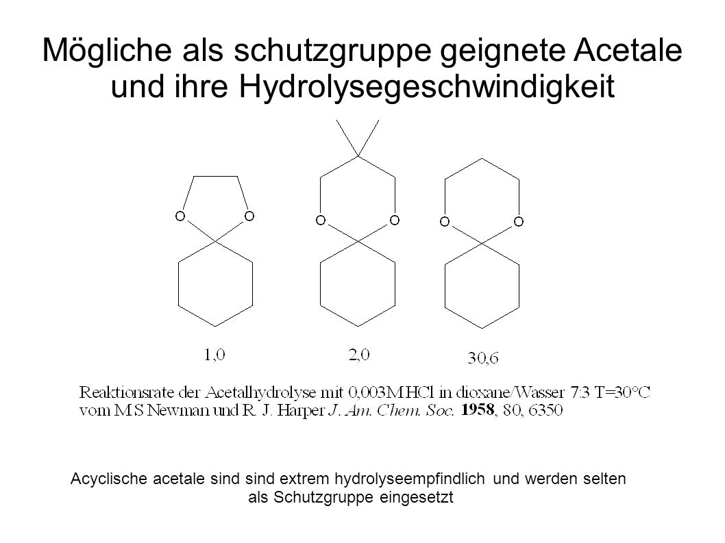 Mögliche als schutzgruppe geignete Acetale und ihre Hydrolysegeschwindigkeit Acyclische acetale sind sind extrem hydrolyseempfindlich und werden selte