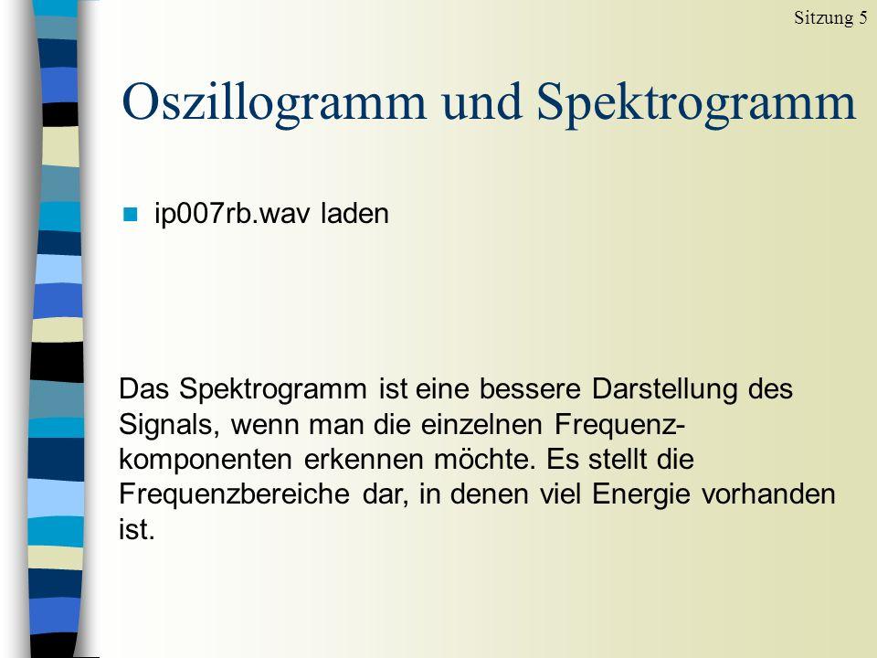 Breitband-Spektrogramm n ip007rb.wav laden Sitzung 5 Hohe Auflösung im Zeitbereich, niedrige Auflösung im Frequenzbereich.