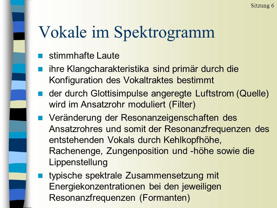 Vokale im Spektrogramm Sitzung 6 Vokale [ ], [ ] und [ ] (in junge, jammern und nicht) im Zeitsignal suchen.