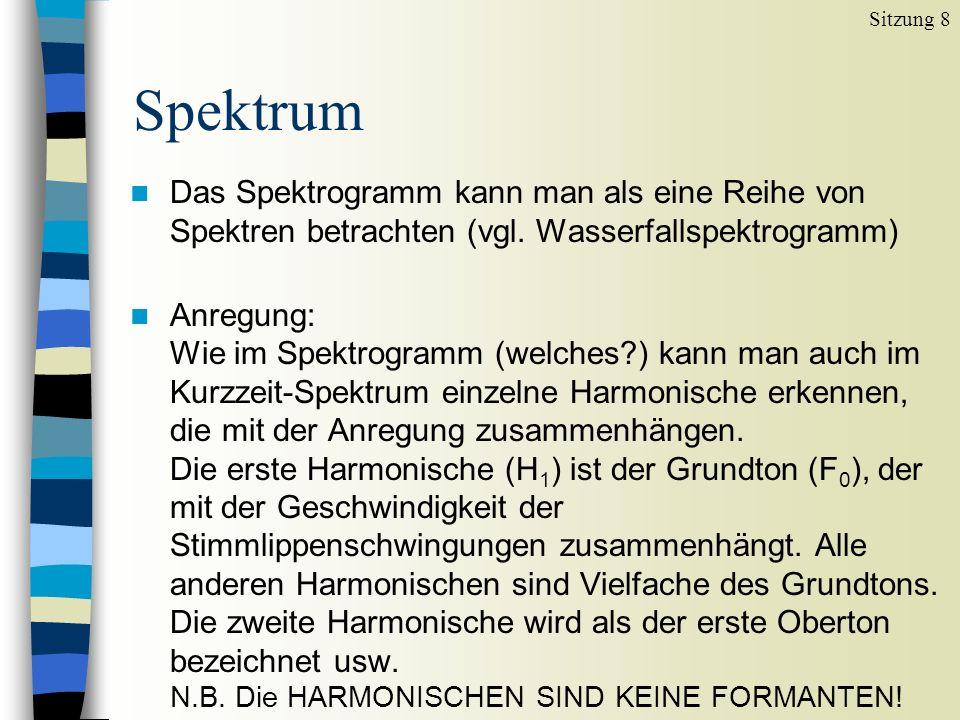 Spektrum Sitzung 8 n Filter: Die Resonanzen des Vokaltrakts (Formanten) kann man im Spektrum von der Hüllkurve ableiten.