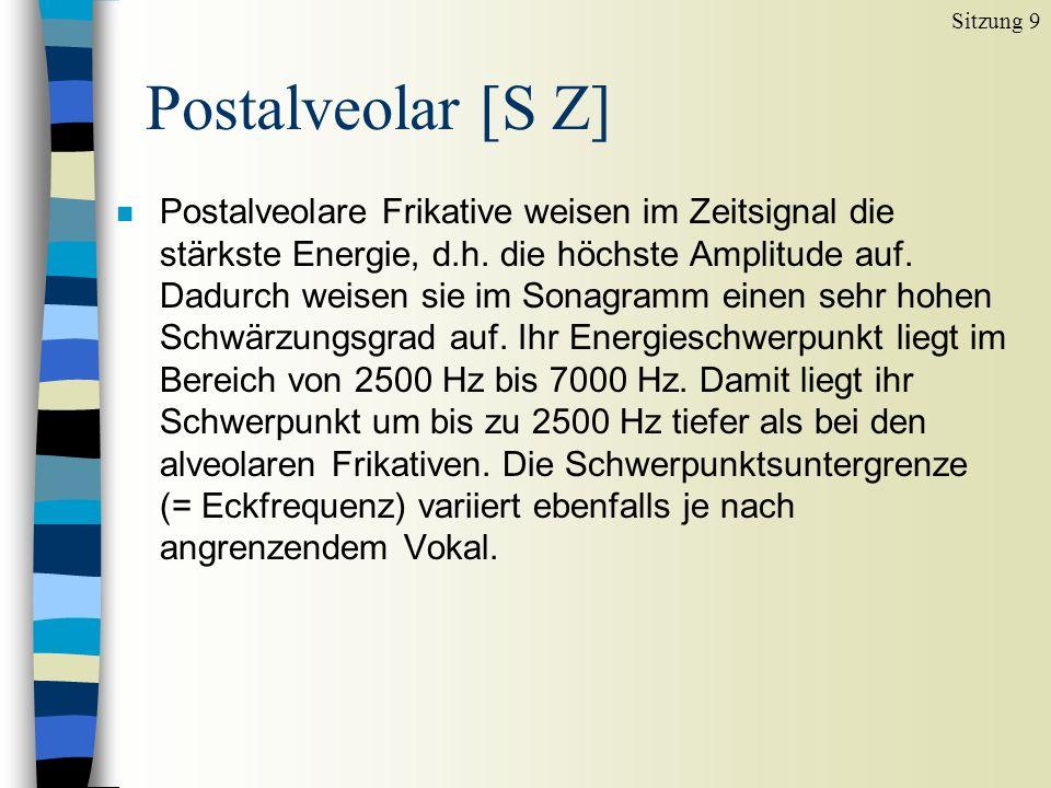 n Palatale Frikative sind wesentlich intensitätsschwächer als alveolare oder postalveolare.