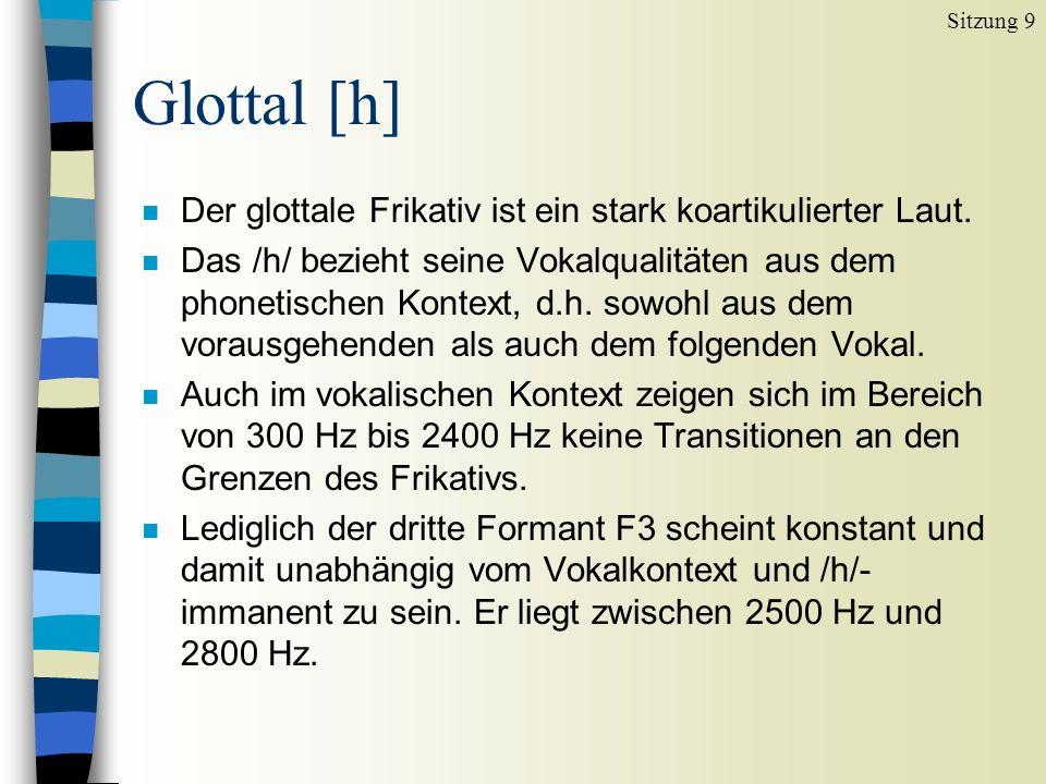 Glottal [h] n Der glottale Frikativ ist ein stark koartikulierter Laut. n Das /h/ bezieht seine Vokalqualitäten aus dem phonetischen Kontext, d.h. sow