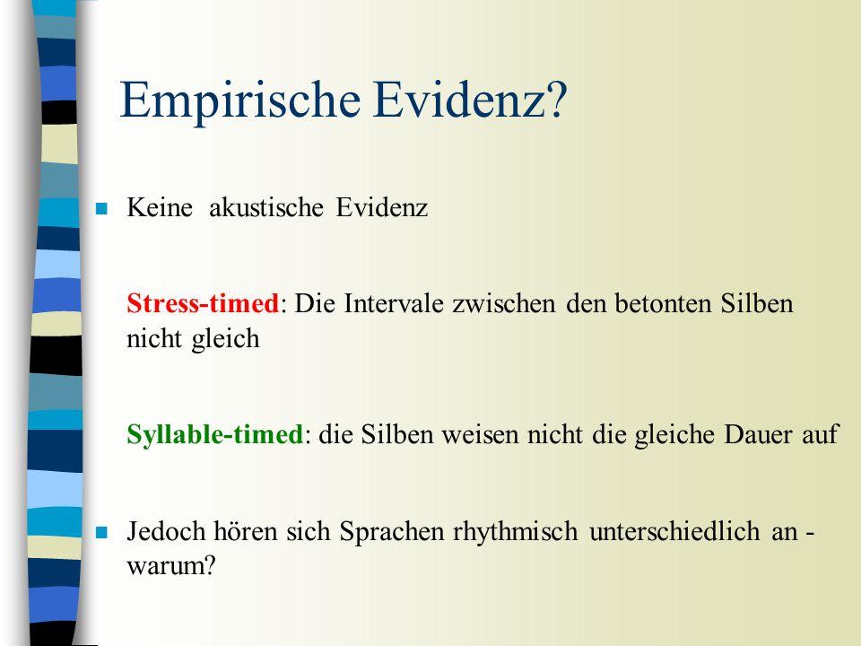 Hypothese: zwei Arten von Metrik in den Sprachen der Welt: Stress-timing (akzentzählend) und syllable-timing (silbenzählend) Stress-timing: Gleiche In