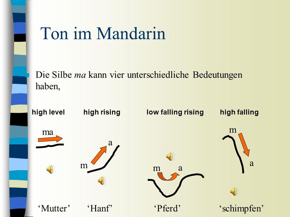 Ton n Tonhöhenbewegungen die im Lexikon spezifiziert sind – silbenbasierendes Phänomen n Funktion: unterscheidet Wörter voneinander n Akustische Korrelate: Grundfrequenz n Z.B.