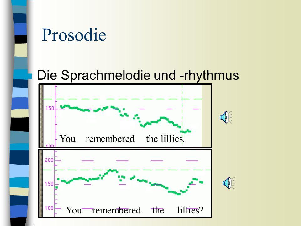 Prosodie n Die Sprachmelodie und -rhythmus You remembered the lillies? You remembered the lillies.