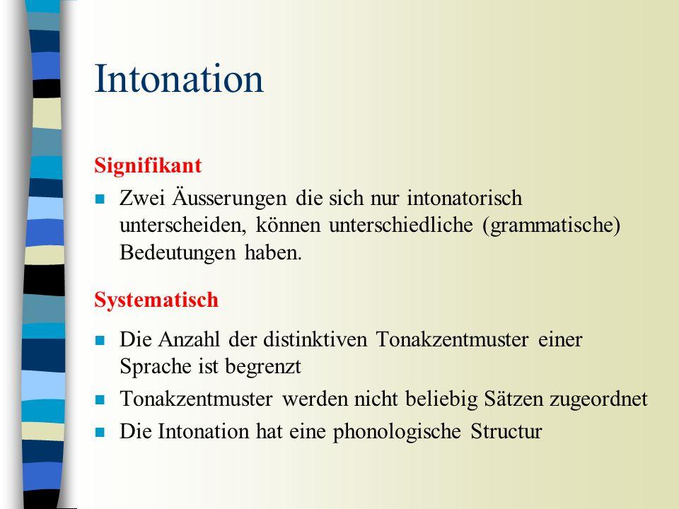 Intonation n Die Sprachmelodie, post-lexikalisch (keine Unterscheidung von Wortbedeutungen) –Auditive Korrelate: Tonhöhenbewegungen –Akustische Korrel