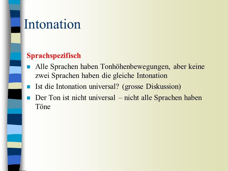 Intonation Signifikant n Zwei Äusserungen die sich nur intonatorisch unterscheiden, können unterschiedliche (grammatische) Bedeutungen haben.