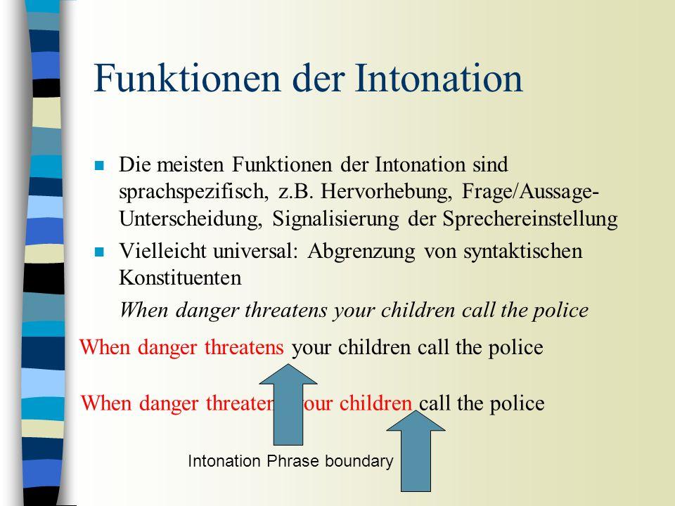 Intonation Sprachspezifisch n Alle Sprachen haben Tonhöhenbewegungen, aber keine zwei Sprachen haben die gleiche Intonation n Ist die Intonation universal.