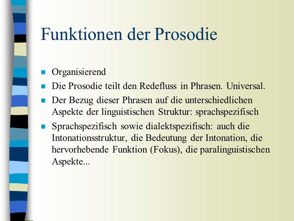 Prosodie n Der Begriff Prosodie beinhaltet folgende Phenomäne: (1) Prominenzunterschiede zwischen Silben – Unterschiede in Dauer, Lautheit, Vorhandens