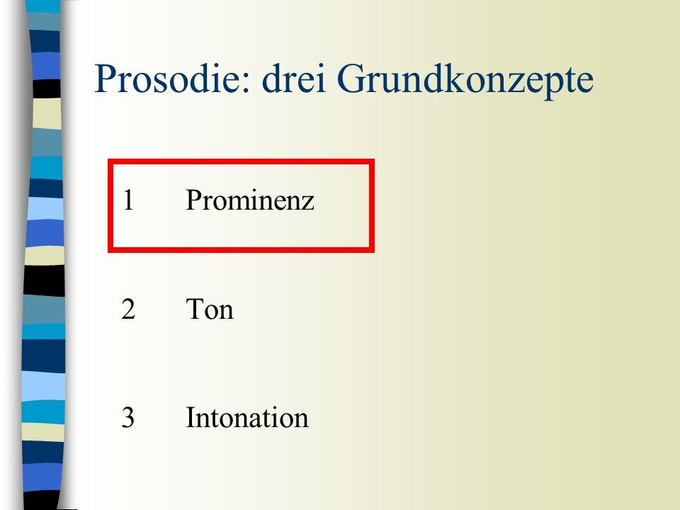 1Prominenz 2Ton 3Intonation Prosodie: drei Grundkonzepte