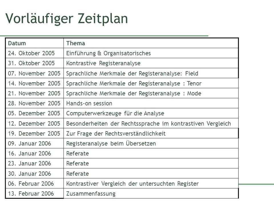 Vorläufiger Zeitplan DatumThema 24. Oktober 2005Einführung & Organisatorisches 31. Oktober 2005Kontrastive Registeranalyse 07. November 2005Sprachlich