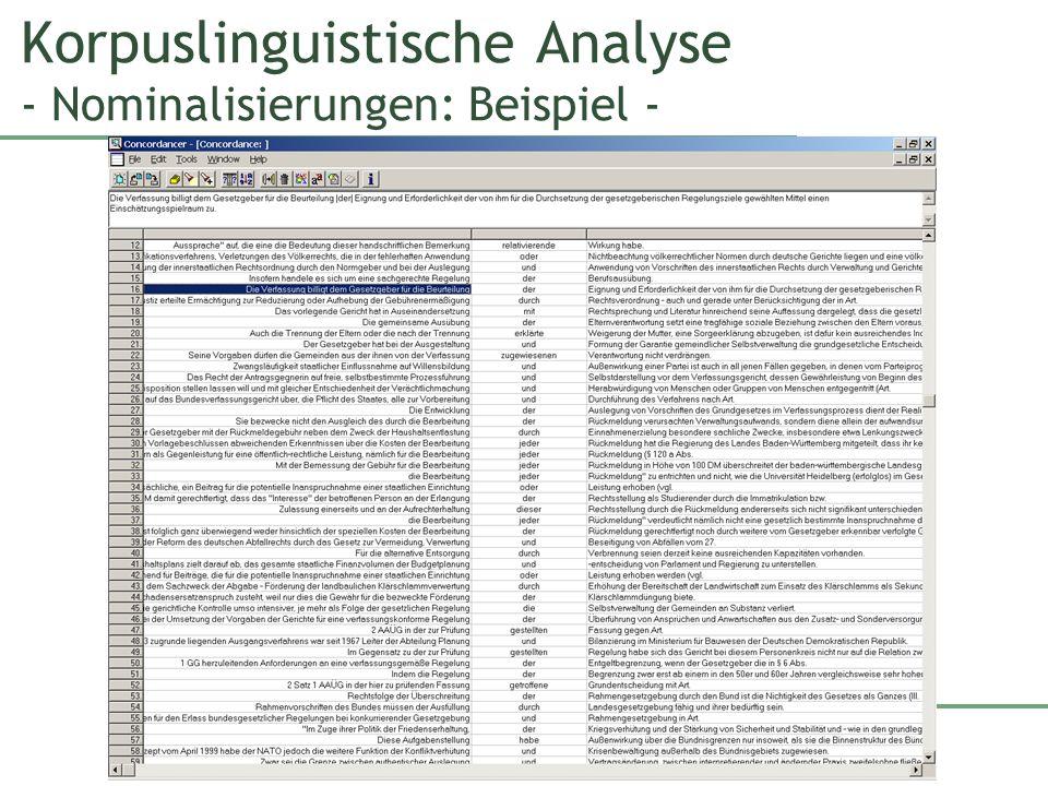 Korpuslinguistische Analyse - Nominalisierungen: Beispiel -