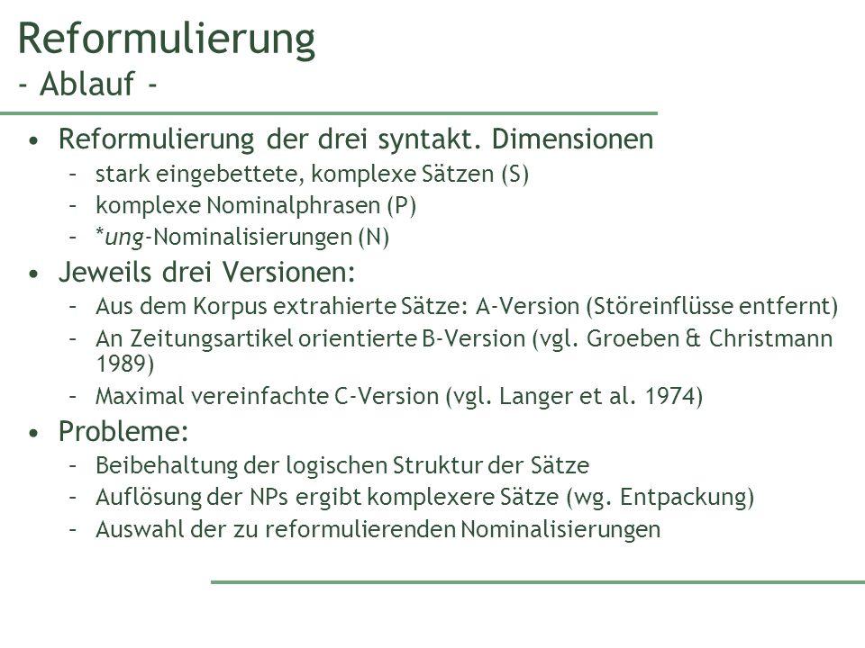 Reformulierung - Ablauf - Reformulierung der drei syntakt.