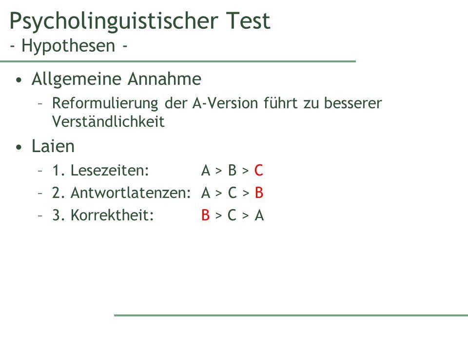 Psycholinguistischer Test - Hypothesen - Allgemeine Annahme –Reformulierung der A-Version führt zu besserer Verständlichkeit Laien –1.