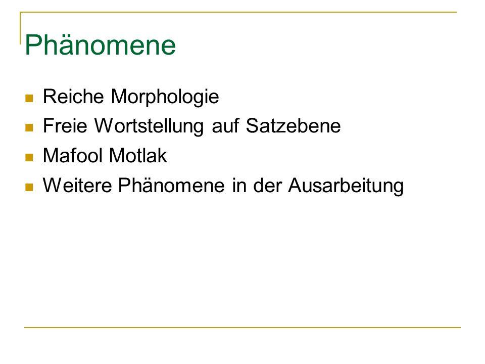 Phänomene Reiche Morphologie Freie Wortstellung auf Satzebene Mafool Motlak Weitere Phänomene in der Ausarbeitung