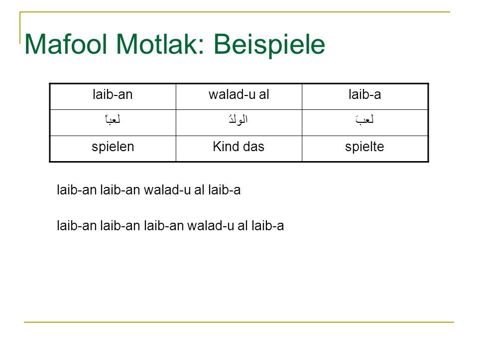 Mafool Motlak: Beispiele laib-anwalad-u allaib-a لعباًالولدُلعبَ spielenKind dasspielte laib-an laib-an walad-u al laib-a laib-an laib-an laib-an walad-u al laib-a
