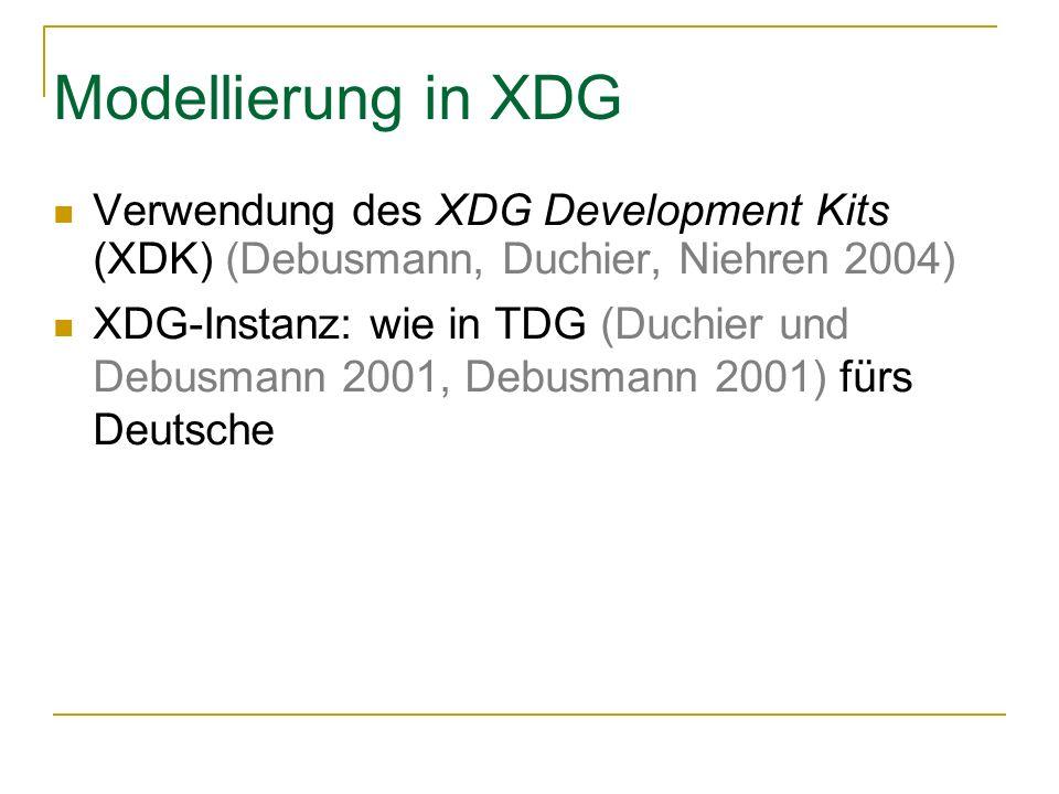 Modellierung in XDG Verwendung des XDG Development Kits (XDK) (Debusmann, Duchier, Niehren 2004) XDG-Instanz: wie in TDG (Duchier und Debusmann 2001, Debusmann 2001) fürs Deutsche