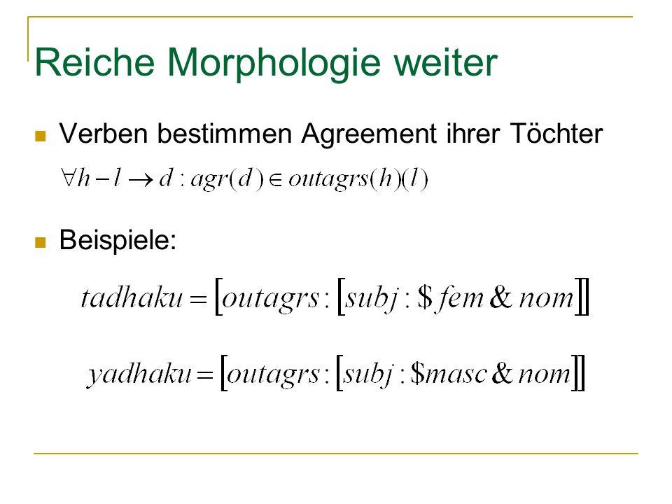 Reiche Morphologie weiter Verben bestimmen Agreement ihrer Töchter Beispiele: