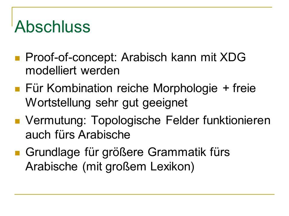 Abschluss Proof-of-concept: Arabisch kann mit XDG modelliert werden Für Kombination reiche Morphologie + freie Wortstellung sehr gut geeignet Vermutung: Topologische Felder funktionieren auch fürs Arabische Grundlage für größere Grammatik fürs Arabische (mit großem Lexikon)
